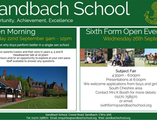 Sandbach School – Open Events in September